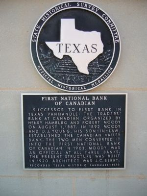 First National Bank of Canadian Marker image. Click for full size.