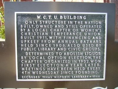 W. C. T. U. Building Marker image. Click for full size.