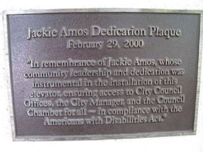 Jackie Amos Dedication Plaque image. Click for full size.