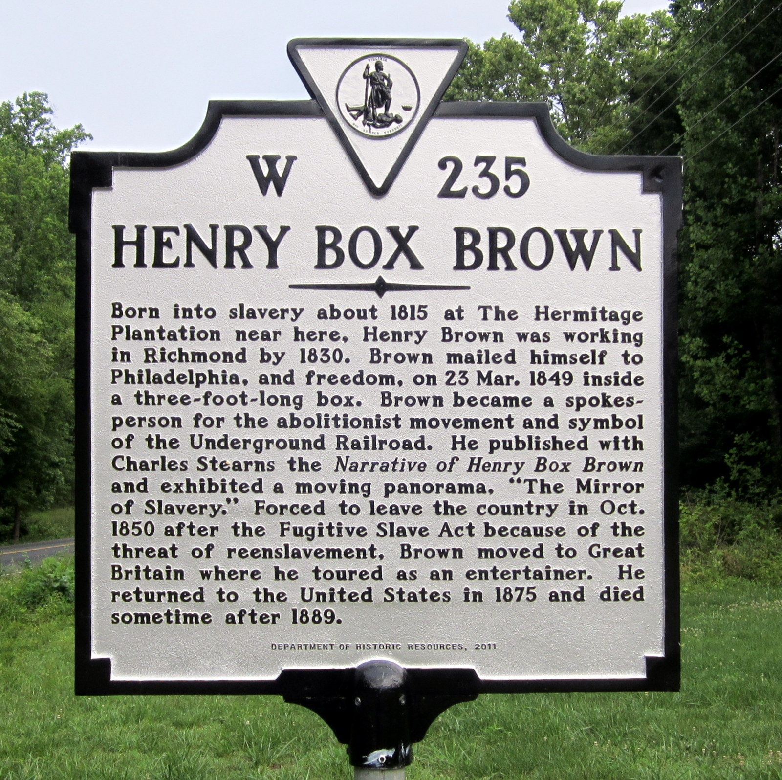 Henry Box Brown Marker