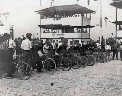 1909 First I.M.S. Races - Motorcycles -<br> Note Gravel & Tar Track Surface ! ! image. Click for full size.