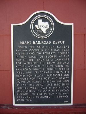 Miami Railroad Depot Marker image. Click for full size.