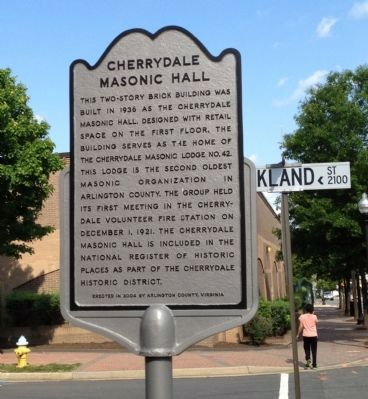 Cherrydale Masonic Hall Marker image. Click for full size.
