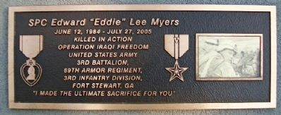 "SPC Edward ""Eddie"" Lee Myers Marker image. Click for full size."