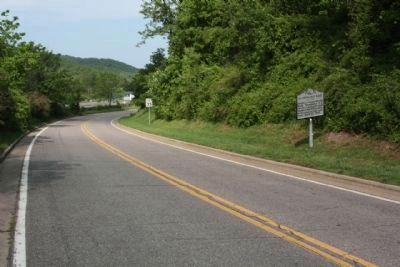 Stoneman's Raid Marker, looking west along Old US 70 E image. Click for full size.