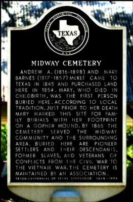 Midway Cemetery Marker image. Click for full size.