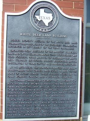 White Deer Land Building Marker image. Click for full size.