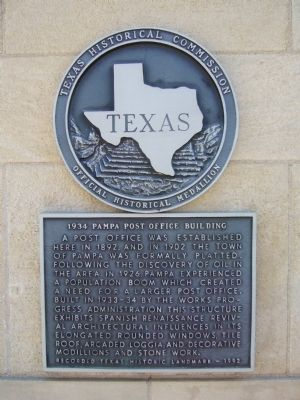 1934 Pampa Post Office Building Marker image. Click for full size.