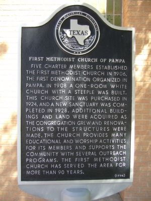 First Methodist Church of Pampa Marker image. Click for full size.