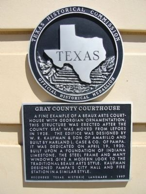 Gray County Courthouse Marker image. Click for full size.