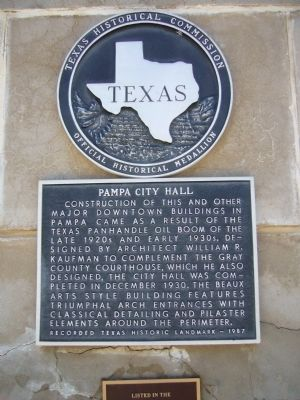 Pampa City Hall Marker image. Click for full size.