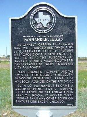 Terminus of the Santa Fe Railroad Marker image. Click for full size.