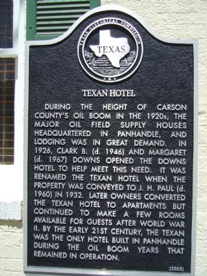 Texan Hotel Marker image. Click for full size.
