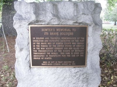 Sumter's Memorial To Its Brave Soldiers Marker image. Click for full size.