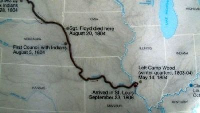 Map on The Lewis and Clark Expedition Marker image. Click for full size.