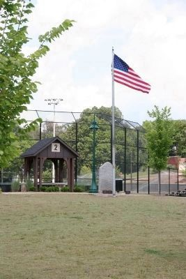 """Lest We Forget"" Marker in new location by the ball field. image. Click for full size."
