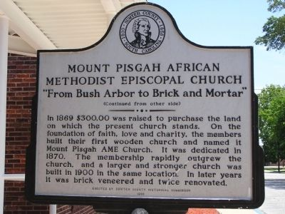 Mount Pisgah African Methodist Episcopal Church Marker Reverse image. Click for full size.