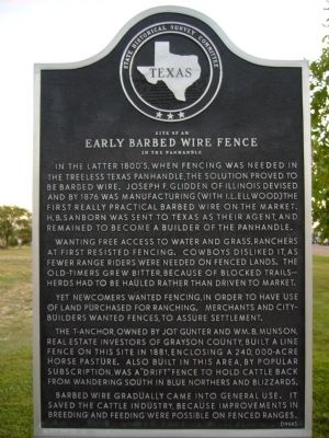 Site of an <b>Early Barbed Wire Fence</b> in the Panhandle Marker image. Click for full size.