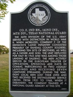 Co. F, 2nd Bn., 142nd Inf., 36th Div., Texas National Guard Marker image. Click for full size.