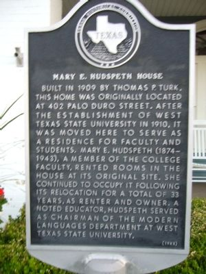 Mary E. Hudspeth House Marker image. Click for full size.