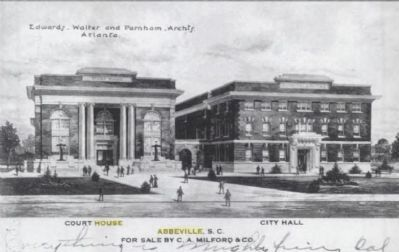 Historic Postcard<br>Abbeville County Courthouse<br>and City Hall/Opera House image. Click for full size.