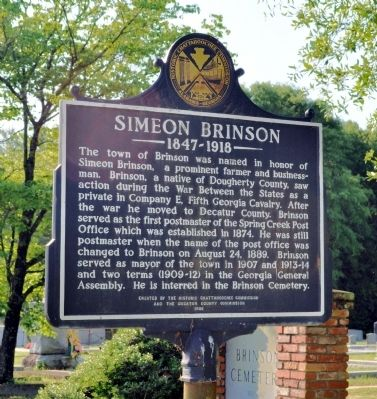 Side 2: Simeon Brinson Marker image. Click for full size.