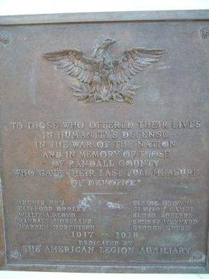 Randall County World War I Memorial Marker image. Click for full size.