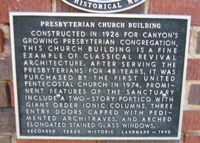 Presbyterian Church Building Marker image. Click for full size.