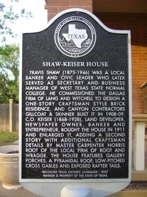 Shaw-Keiser House Marker image. Click for full size.
