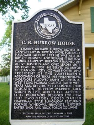 C.R. Burrow House Marker image. Click for full size.