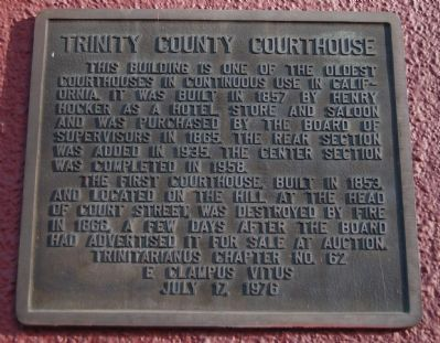 Trinity County Courthouse Marker image. Click for full size.