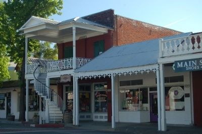 Weaverville Drug Store (center) and Clifford Hall (left) image. Click for full size.