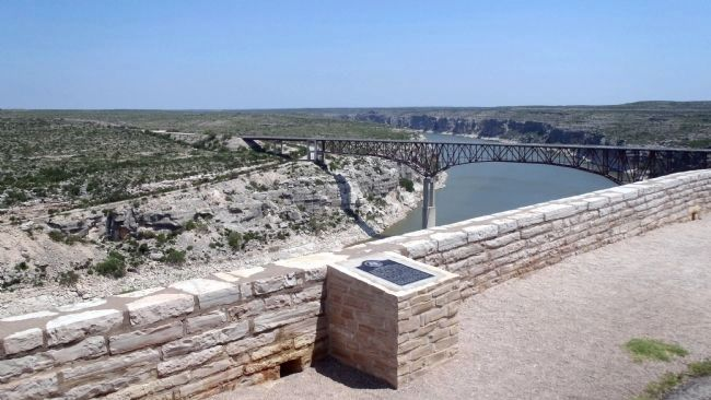 The Pecos River looking upstream at the marker location image. Click for full size.