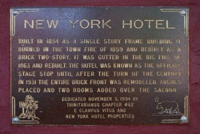 New York Hotel Marker image. Click for full size.