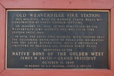 Old Weaverville Fire Station Marker image. Click for full size.