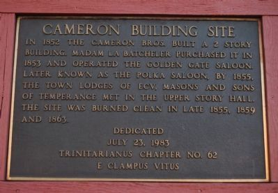 Cameron Building Site Marker image. Click for full size.
