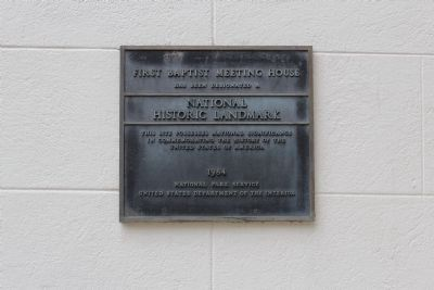 The First Baptist Church National Historic Landmark Plaque image. Click for full size.