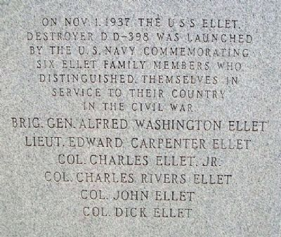 Alfred Washington Ellet Monument (back) image. Click for full size.