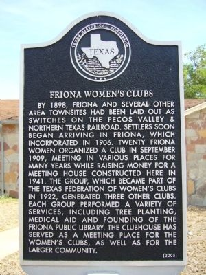 Friona Women's Clubs Marker image. Click for full size.
