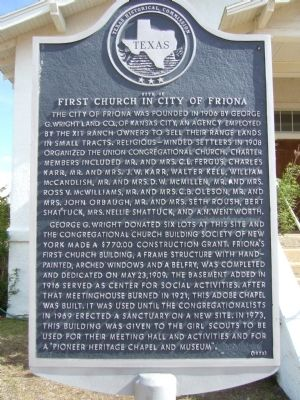 Site of First Church in City of Friona Marker image. Click for full size.