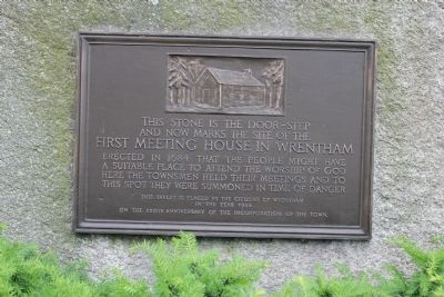 First Meeting House in Wrentham Marker image. Click for full size.