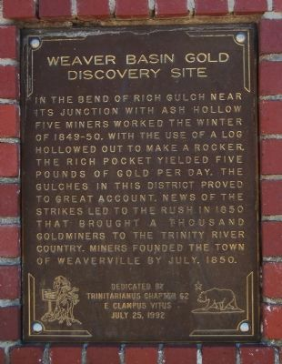 Weaverville Basin Gold Discovery Site Marker image. Click for full size.