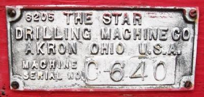 Star Drilling Machine Manufacturer's Plate image. Click for full size.
