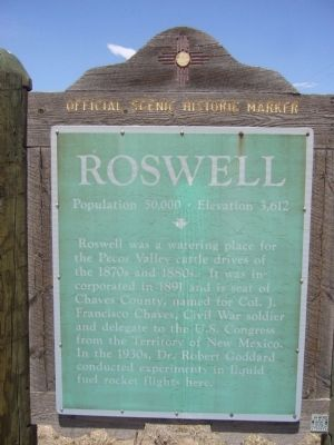 Roswell Marker - old version image. Click for full size.