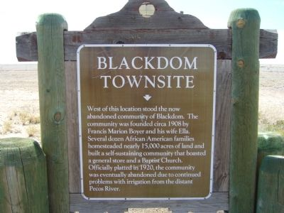 Blackdom Townsite Marker image. Click for full size.