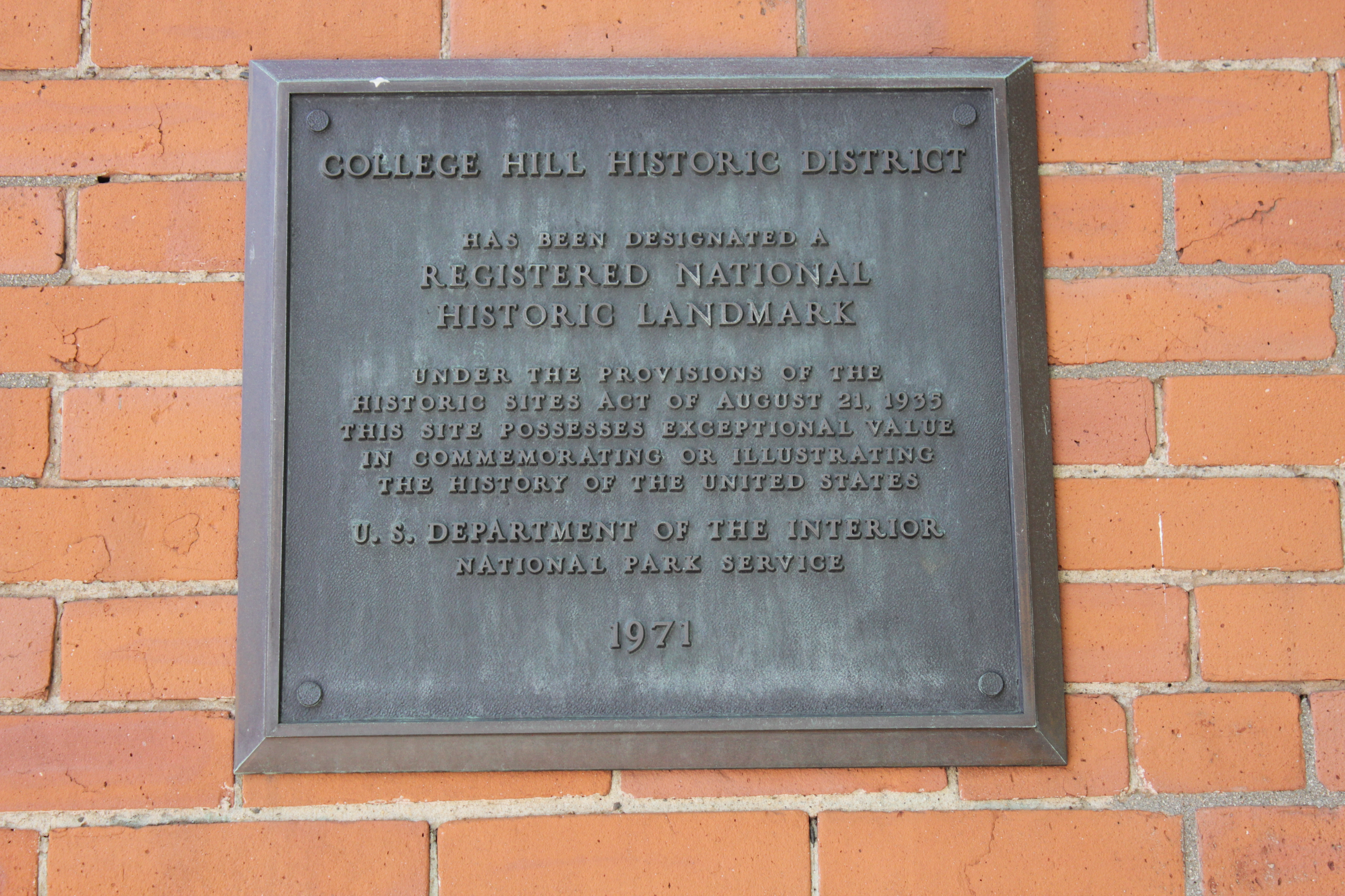 College Hill Historic District Marker