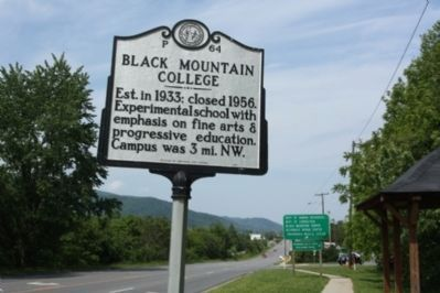 Black Mountain College Marker, seen eastbound W State Street image. Click for full size.