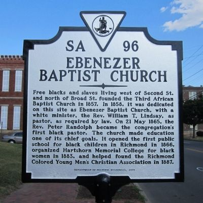 Ebenezer Baptist Church Marker image. Click for full size.