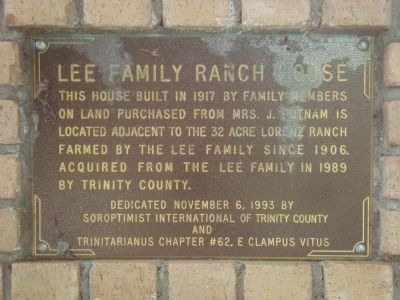 Lee Family Ranch House Marker image. Click for full size.