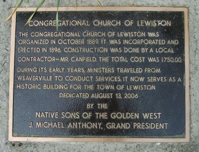 Congregational Church of Lewiston Marker image. Click for full size.